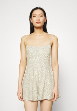 Abercrombie & Fitch - FRONT RUCHED ROMPER  - Jumpsuit - green leaf print