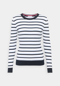Tommy Hilfiger - ESS CABLE - Strickpullover - breezy blue/desert sky/white