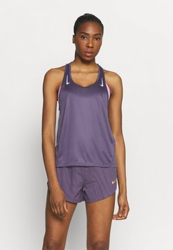 Nike Performance - MILER TANK RACER - Funktionsshirt - dark raisin/silver