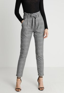 Vero Moda - VMEVA PAPERBAG CHECK PANT - Broek - grey/white