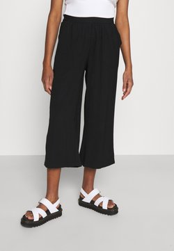 Even&Odd - Cropped wide leg trouser - Kangashousut - black