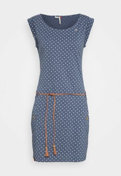 Ragwear - TAG DOTS - Jerseykleid - denim blue