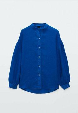 Massimo Dutti - MIT MAOKRAGEN UND PUFFÄRMELN - Camicia - blue