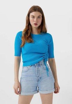 Stradivarius - MOM-FIT - Jeans Short / cowboy shorts - dark blue