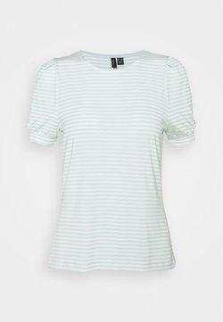Vero Moda Petite - VMKATE TOP PETITE - T-Shirt print - icy morn/white stripes
