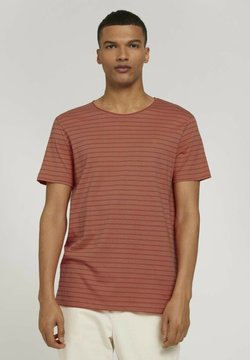 TOM TAILOR DENIM - T-Shirt print - lobster ornage tonal stripe