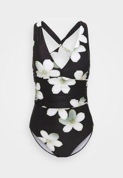 Lauren Ralph Lauren - TWIST BACK HALTER - Badeanzug - black/white