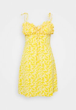 Glamorous - CARE PRINTED MINI DRESS WITH SHOULDER TIE DETAIL - Hverdagskjoler - yellow
