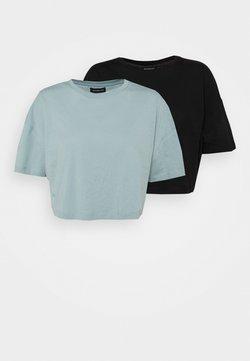Even&Odd - 2 PACK - T-Shirt basic - black/green