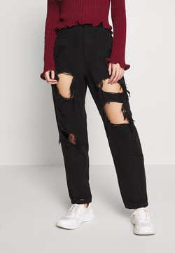Missguided Petite - RIOT HIGH RISE EXTREME RIPPED MOM JEANS - Relaxed fit jeans - black