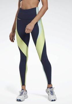 Reebok - LES MILLS® HIGH-RISE COLORBLOCK LUX LEGGINGS - Tights - blue
