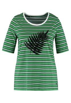 Samoon - MIT PAILLETTEN-DEKOR ORGANIC CO - T-Shirt print - leaves green/offwhite ringel