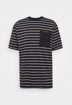 Scotch & Soda - RELAXED STRIPED TEE WITH CONTRAST CHESTPOCKET - T-shirt con stampa - dark blue, white, brown