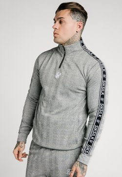 SIKSILK - TOOTH CHECK QUARTER ZIP FUNNEL NECK - Strickpullover - black/white