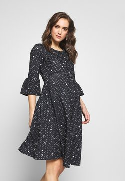 Dorothy Perkins Maternity - FLUTE SLEEVE FIT AND FLARE DRESS - Vestito di maglina - black