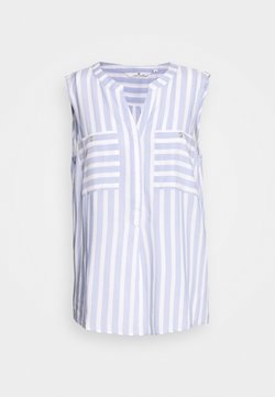 TOM TAILOR - BLOUSE STRIPED - Bluse - bleu/offwhite