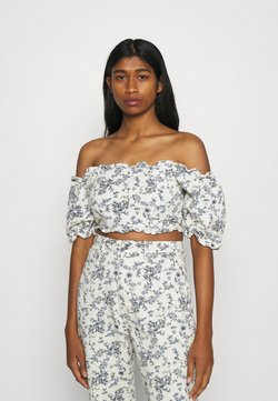 Missguided - FLORAL SQUARE PUFF SLEEVE - T-Shirt print - white