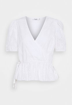 NA-KD - EMBROIDERED OVERLAP BLOUSE - Pusero - white