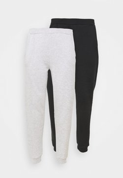 Even&Odd Curvy - 2er PACK - REGULAR FIT JOGGERS - Jogginghose - black/light grey