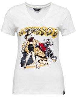 Queen Kerosin - MIT FRONTPRINT UND V-AUSSCHN - T-shirt print - weiß