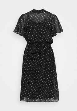 Dorothy Perkins Tall - FLORAL FIT & FLARE DRESS - Freizeitkleid - black