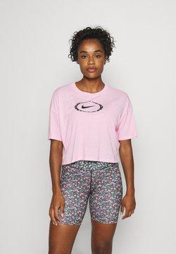 Nike Performance - DRY CROP FEMME - T-Shirt print - pink/pink glow/black