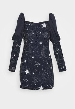 Missguided - ASTRO PUFF SLEEVE MINI DRESS - Juhlamekko - navy