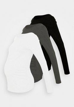 Anna Field MAMA - 3 PACK - Langarmshirt - black/dark grey/white