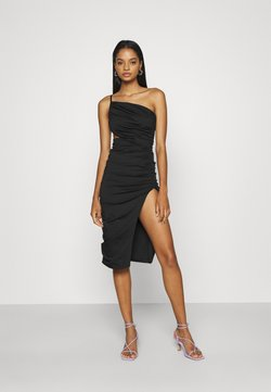 Missguided - ONE SHOULDER RUCHED CUT OUT MIDI DRESS - Cocktailklänning - black