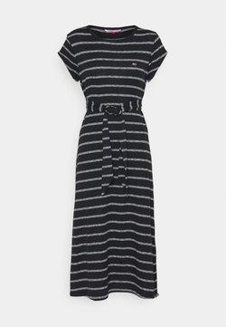 Tommy Jeans - BELTED STRIPE DRESS - Jerseykleid - black / multi