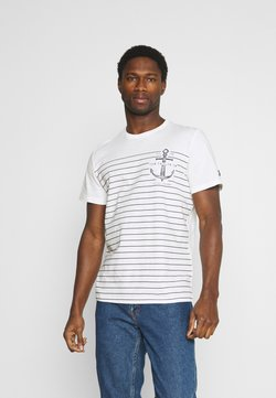 TOM TAILOR - PRINTED HARBOUR STRIPE - T-Shirt print - off white