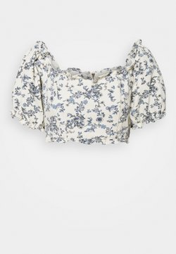 Missguided Petite - FLORAL SQUARE PUFF SLEEVE - Blusa - white
