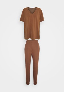 Missguided Tall - COORD V NECK SHIRT JOGGER SET - T-Shirt basic - toffee
