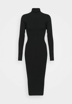 Missguided - CUT OUT BACK MIDAXI DRESS - Strickkleid - black