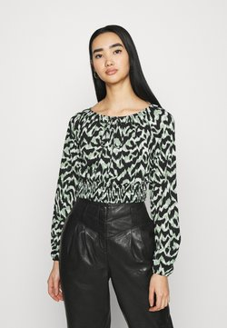 ONLY - ONLPELLA BOW - Langarmshirt - black/green milieu