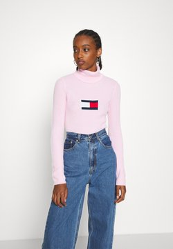 Tommy Jeans - FLAG ROLL NECK - Neule - romantic pink