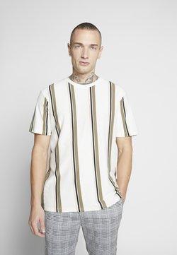 Topman - LUKE STRIPE - T-Shirt print - white