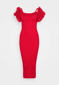 Missguided Tall - PUFF ORGANZA SLEEVE MIDAXI DRESS - Cocktailkleid/festliches Kleid - red