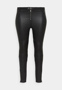 Missguided Plus - VICE DOUBLE POPPER COATED BIKER - Jeans Skinny - black