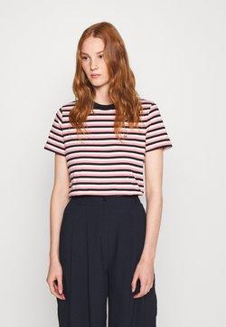 Calvin Klein - SMALL LOGO STRIPE CREW NECK - T-Shirt print - black/pink/white