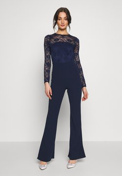 Missguided - BRIDAL AND BRIDESMAID LACE OPENBACK JUMPSUIT - Combinaison - navy