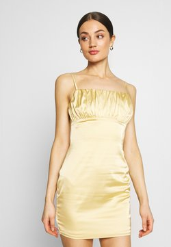 Missguided - RUCHED BUST MIDI DRESS - Cocktailkleid/festliches Kleid - pale yellow