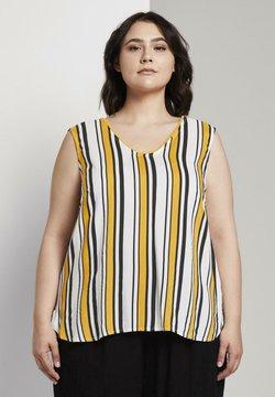 MY TRUE ME TOM TAILOR - MIT HÄKEL - Bluse - black yellow stripe