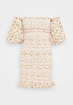 Topshop - SHIRRED BARDOT MINI DRESS - Etuikleid - ivory