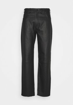 Trussardi - TROUSERS REGULAR FIT - Nahkahousut - black