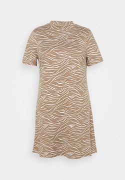 CAPSULE by Simply Be - SOFT TOUCH HIGH NECK SWING DRESS - Jersey dress - truffle