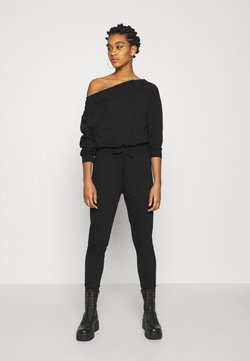 Even&Odd - SWEAT - OFF-SHOULDER LONG SLEEVES CINTERED JUMPSUIT - Combinaison - black