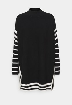Wallis - STRIPE TIPPED PONCHO - Strickpullover - black