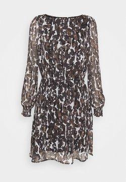 Vero Moda - VMMALLY BOATNECK SHORT DRESS - Freizeitkleid - black/mally tan