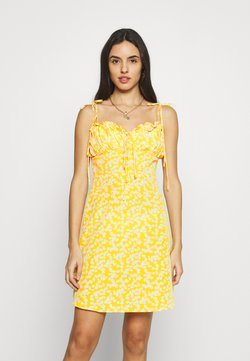 Glamorous - CARE PRINTED MINI DRESS WITH SHOULDER TIE DETAIL - Day dress - yellow
